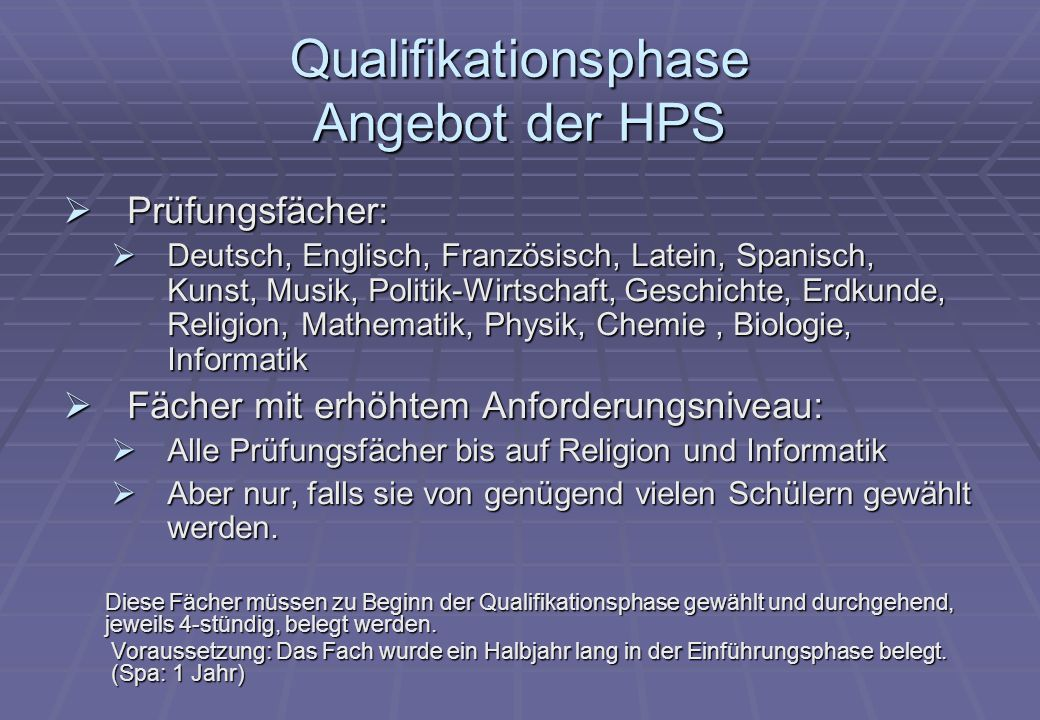 Qualifikationsphase Angebot der HPS