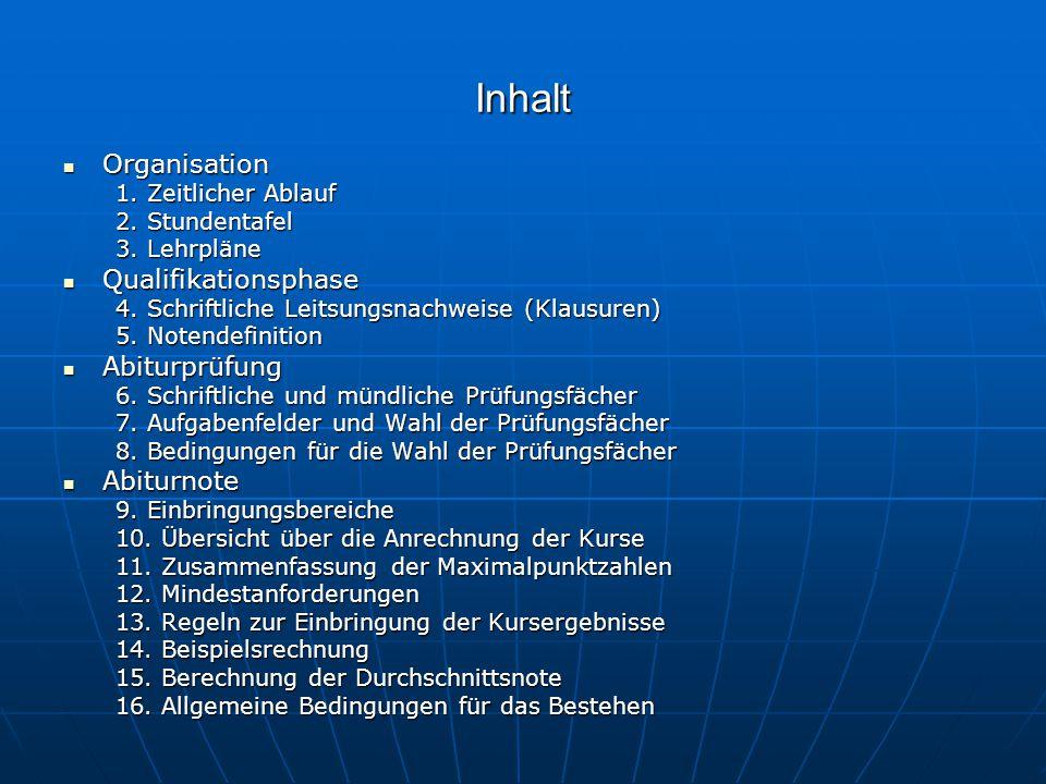 Inhalt Organisation Qualifikationsphase Abiturprüfung Abiturnote
