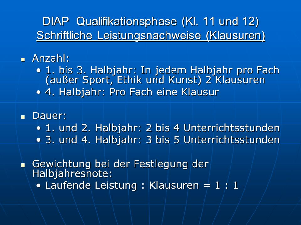 DIAP Qualifikationsphase (Kl