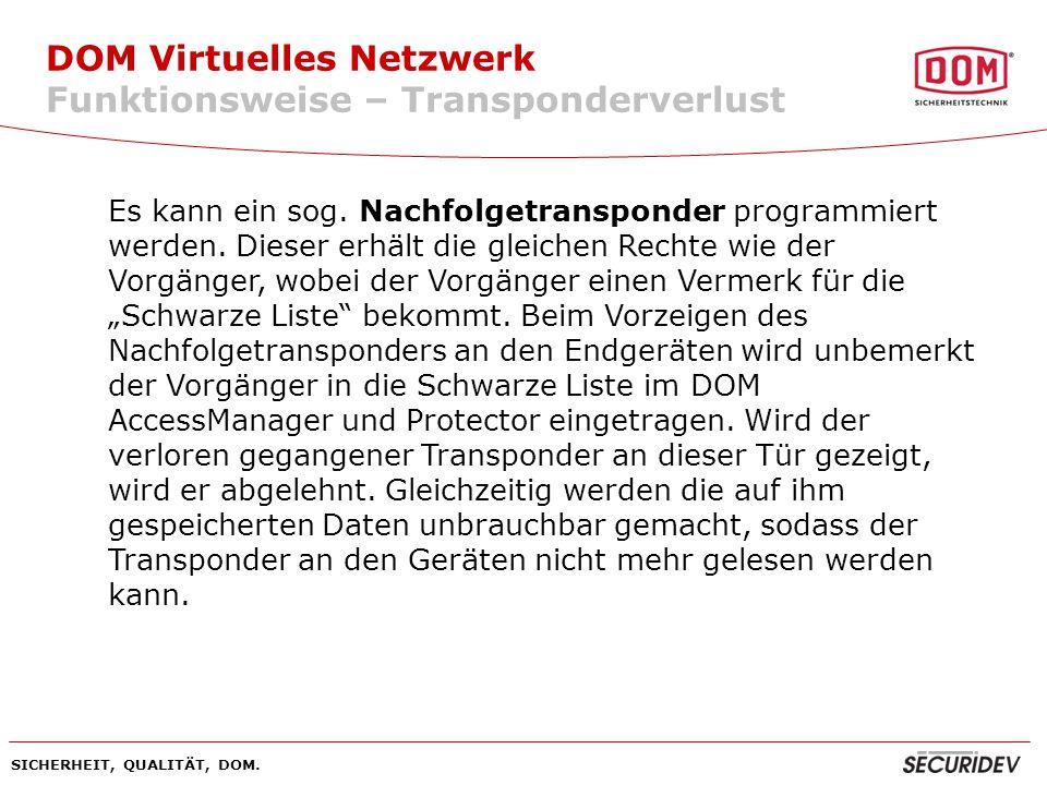 DOM Virtuelles Netzwerk Funktionsweise – Transponderverlust