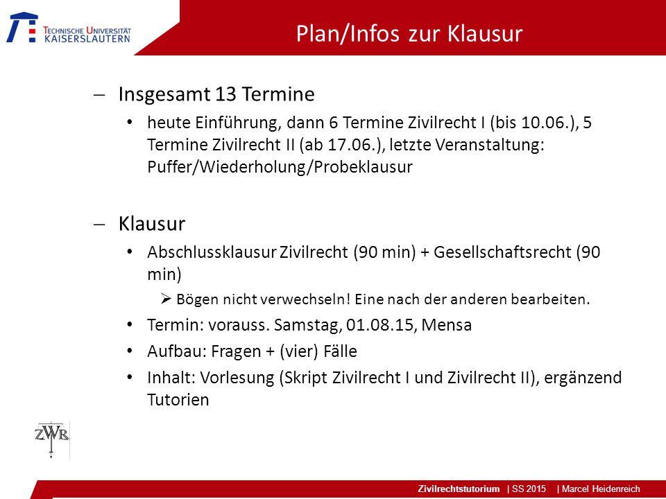 Plan/Infos zur Klausur