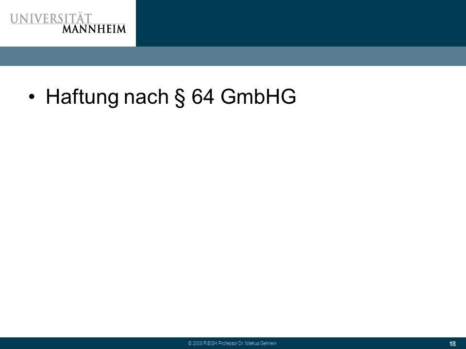 Haftung nach § 64 GmbHG