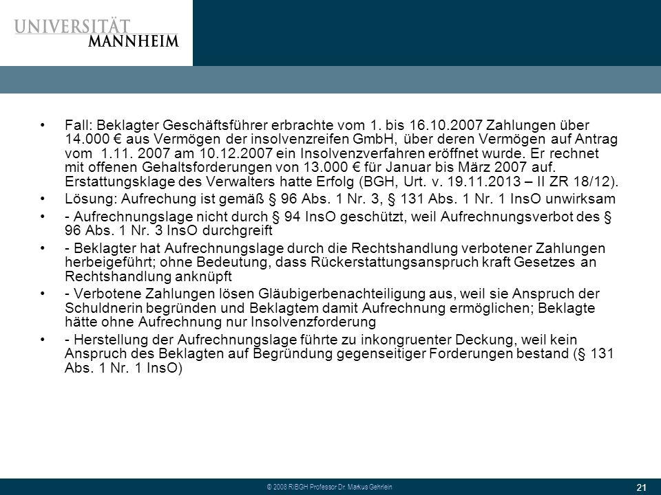 Fall: Beklagter Geschäftsführer erbrachte vom 1. bis 16. 10