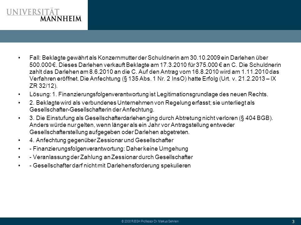 Fall: Beklagte gewährt als Konzernmutter der Schuldnerin am 30. 10