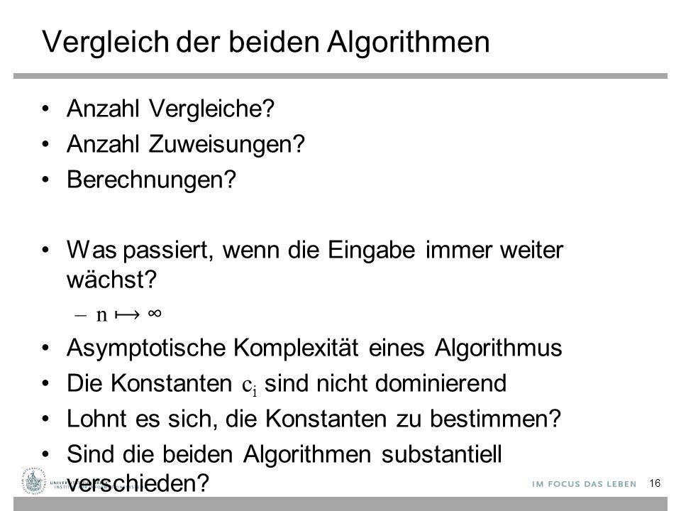 Vergleich der beiden Algorithmen