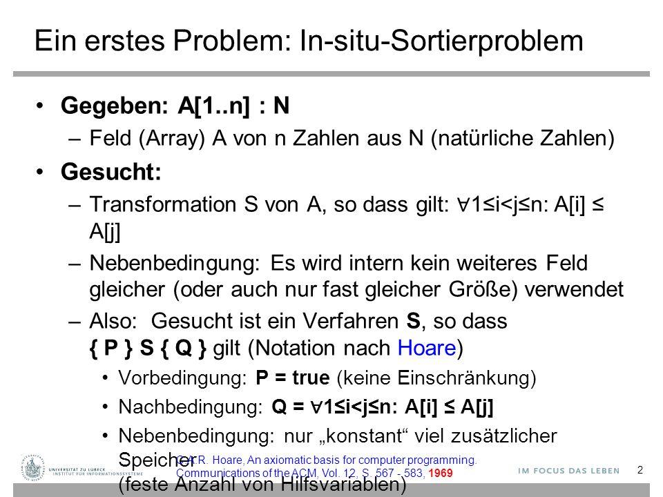 Ein erstes Problem: In-situ-Sortierproblem