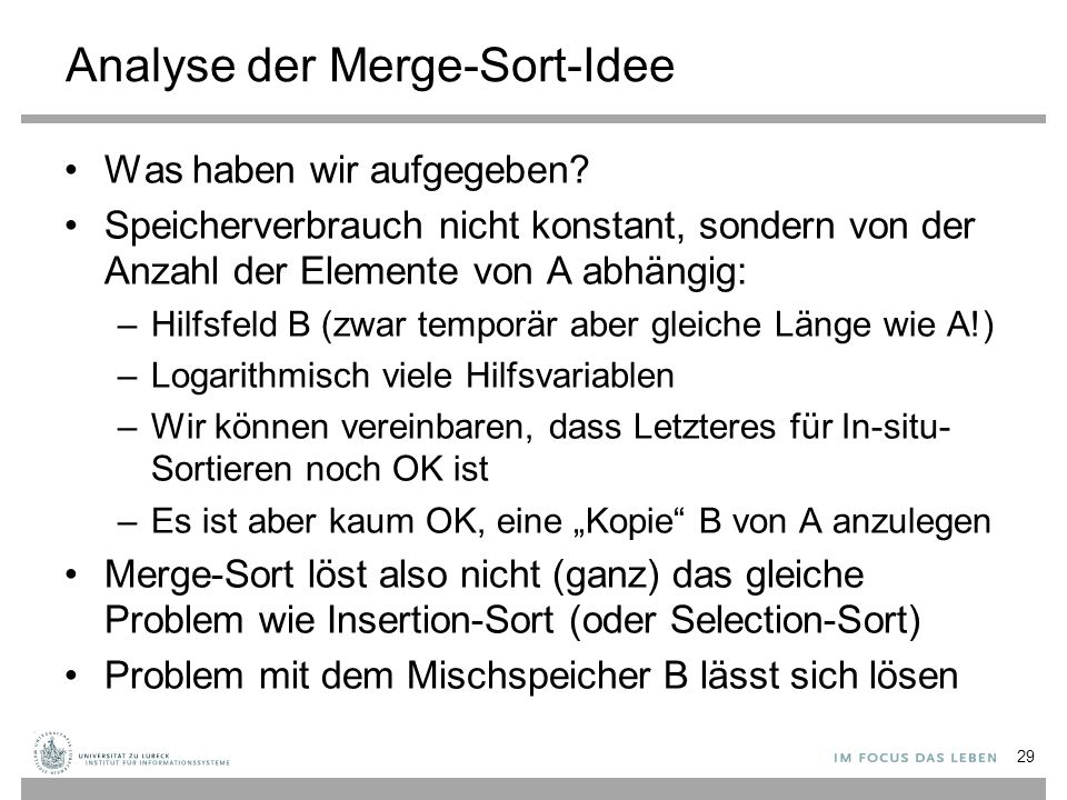 Analyse der Merge-Sort-Idee