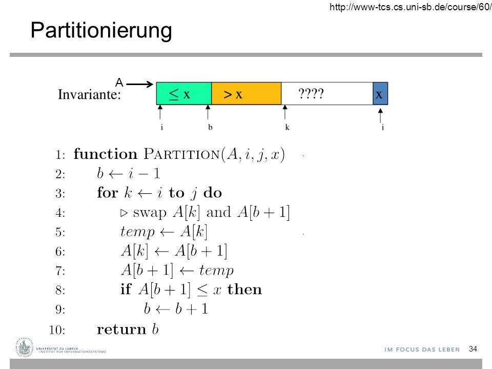 http://www-tcs.cs.uni-sb.de/course/60/ Partitionierung A