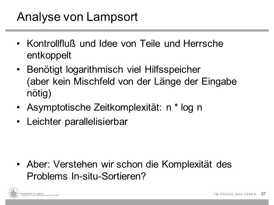 Analyse von Lampsort Kontrollfluß und Idee von Teile und Herrsche entkoppelt.