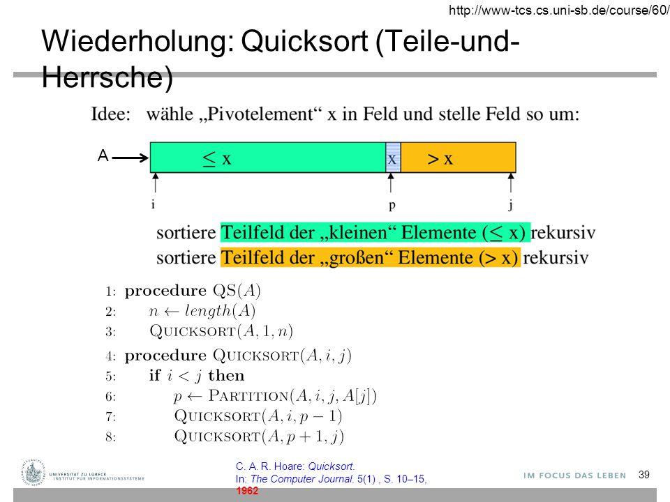 Wiederholung: Quicksort (Teile-und-Herrsche)