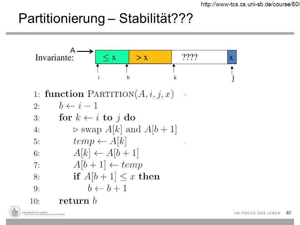 Partitionierung – Stabilität