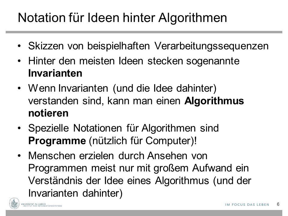 Notation für Ideen hinter Algorithmen