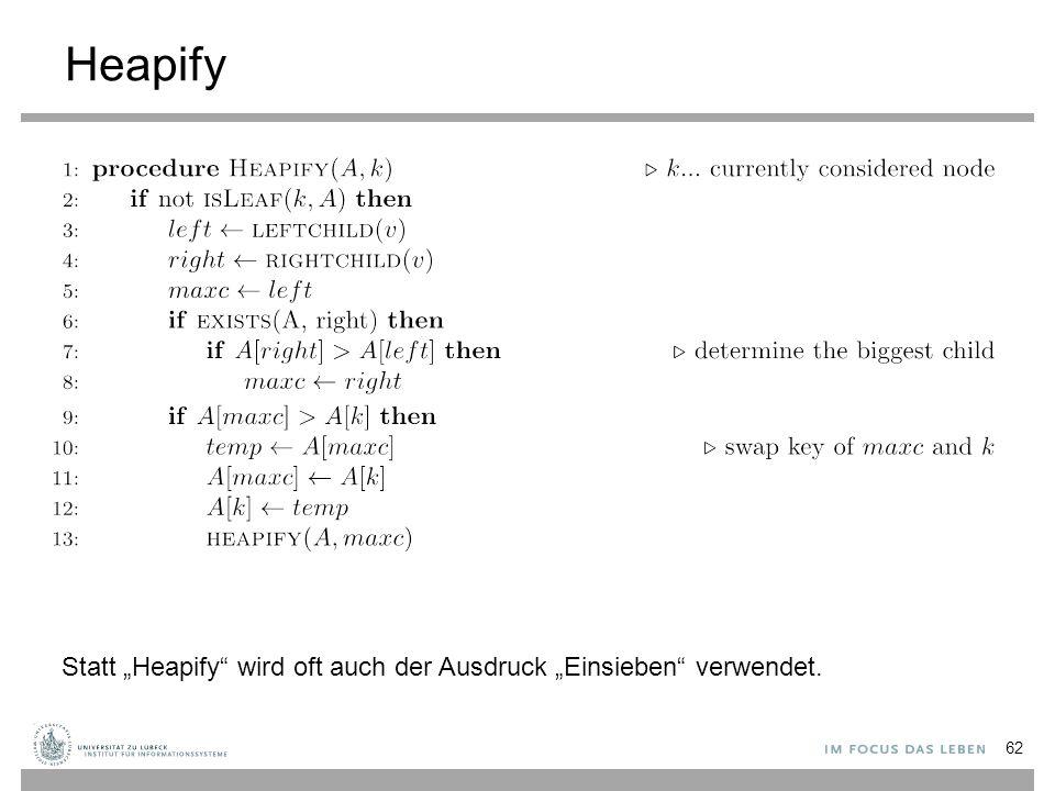 """Heapify Statt """"Heapify wird oft auch der Ausdruck """"Einsieben verwendet."""