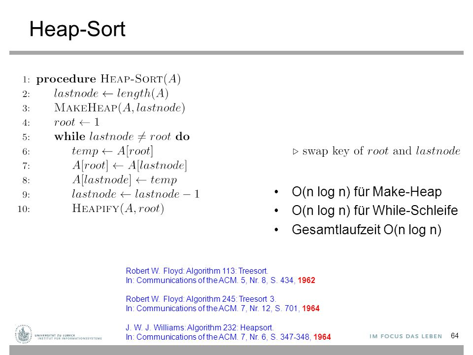 Heap-Sort O(n log n) für Make-Heap O(n log n) für While-Schleife