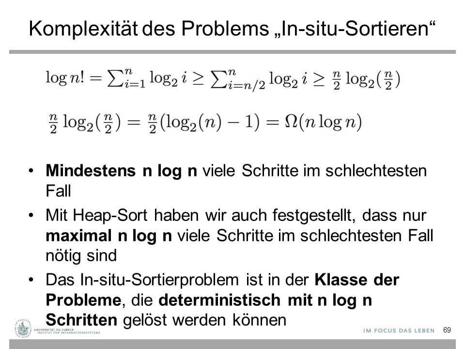 "Komplexität des Problems ""In-situ-Sortieren"