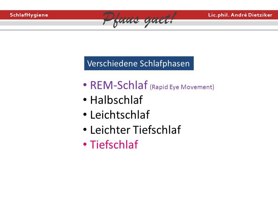 REM-Schlaf (Rapid Eye Movement) Halbschlaf Leichtschlaf