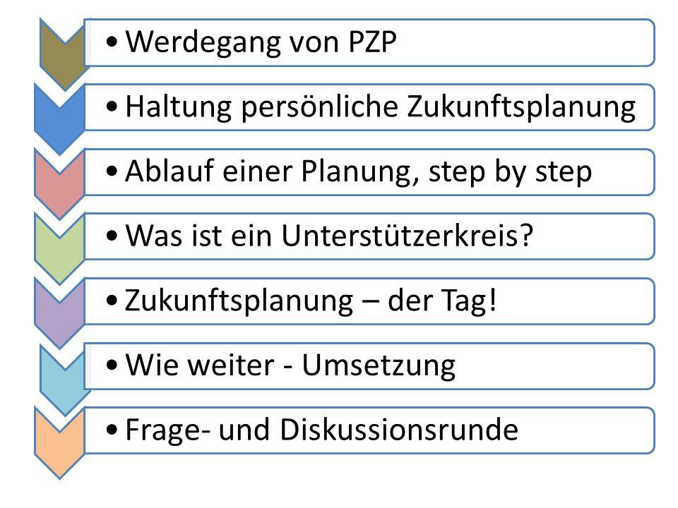 Werdegang von PZP Haltung persönliche Zukunftsplanung. Ablauf einer Planung, step by step. Was ist ein Unterstützerkreis