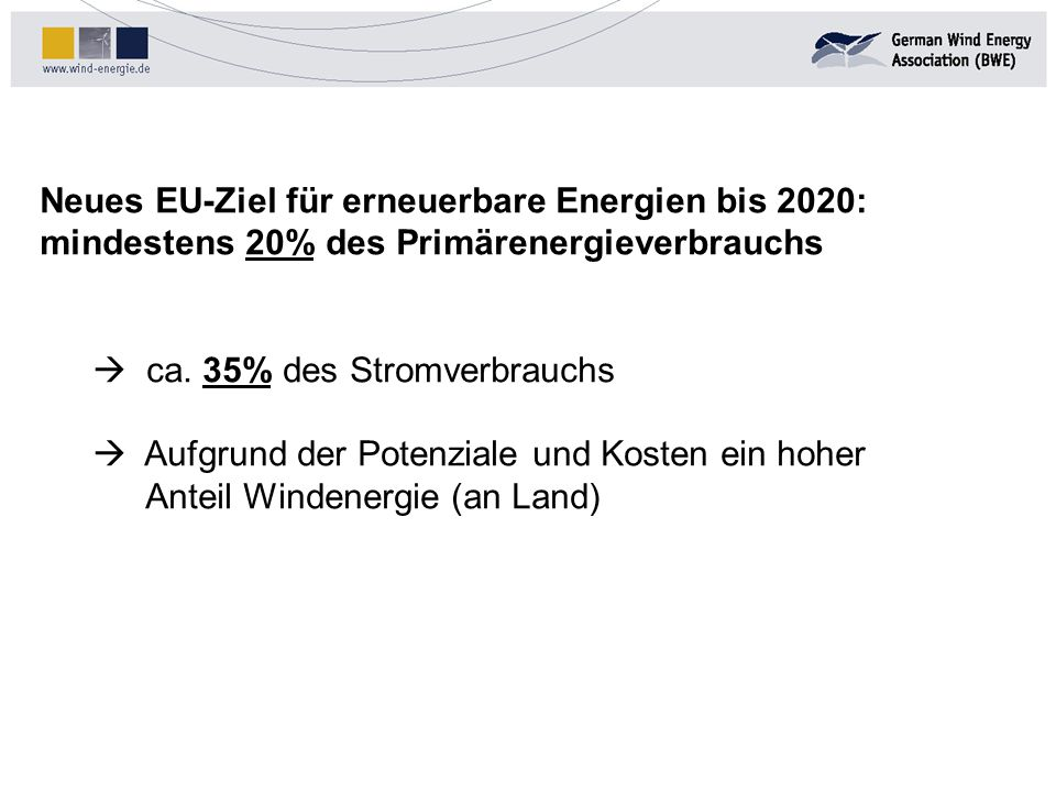 Neues EU-Ziel für erneuerbare Energien bis 2020: