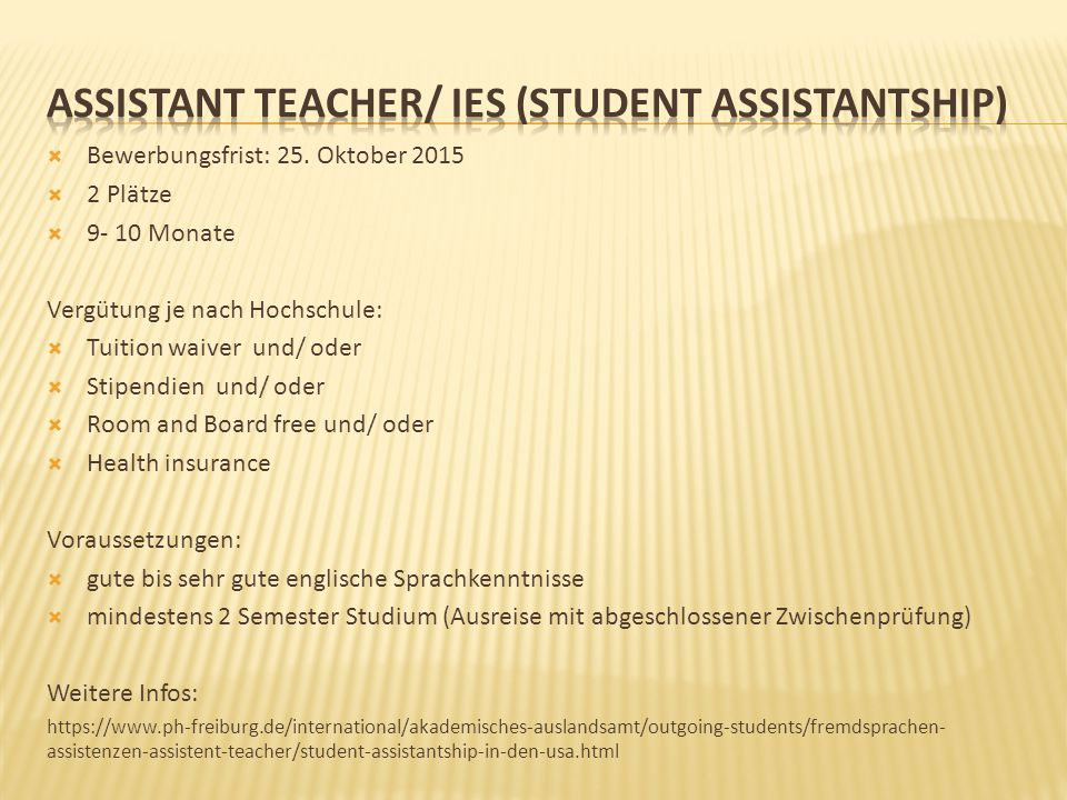 Assistant teacher/ IES (Student Assistantship)