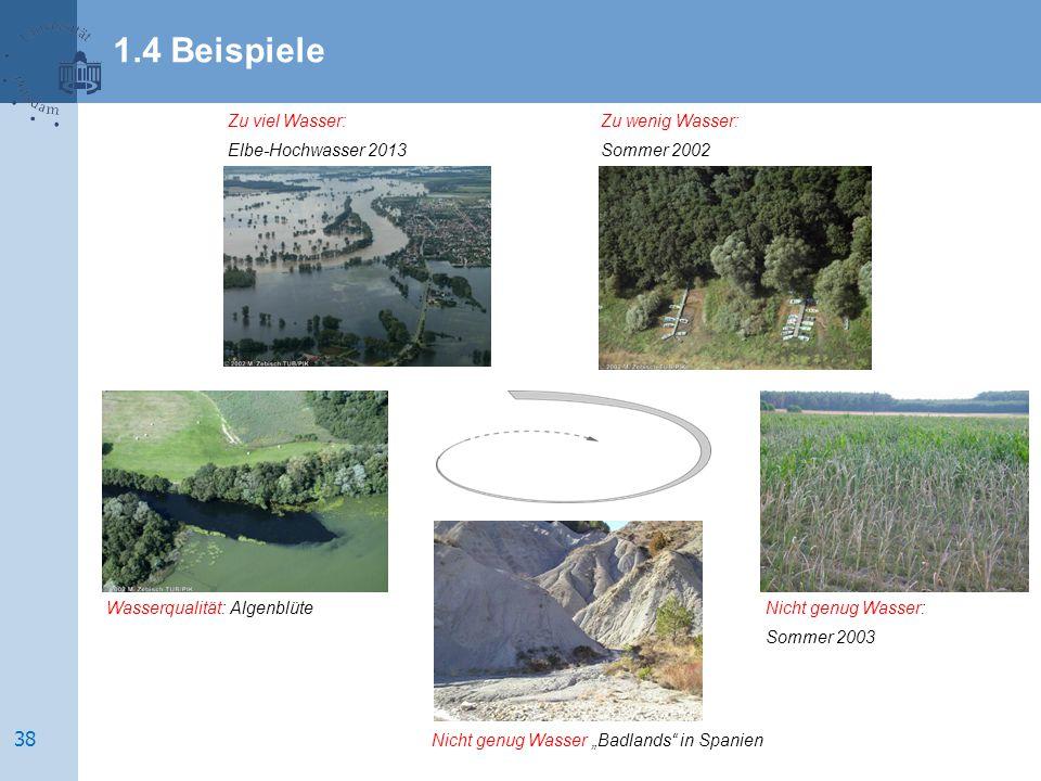 1.4 Beispiele Zu viel Wasser: Elbe-Hochwasser 2013 Zu wenig Wasser: