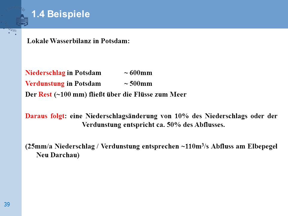 1.4 Beispiele Lokale Wasserbilanz in Potsdam: