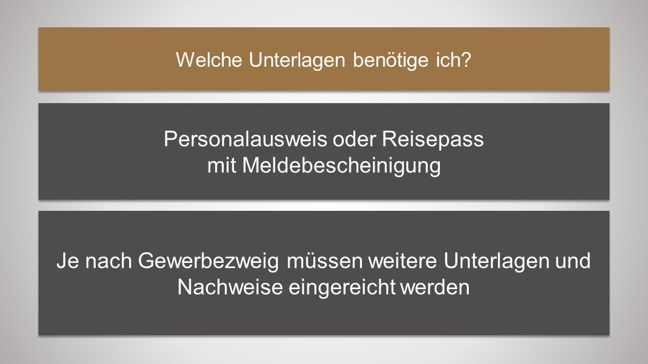 Personalausweis oder Reisepass mit Meldebescheinigung