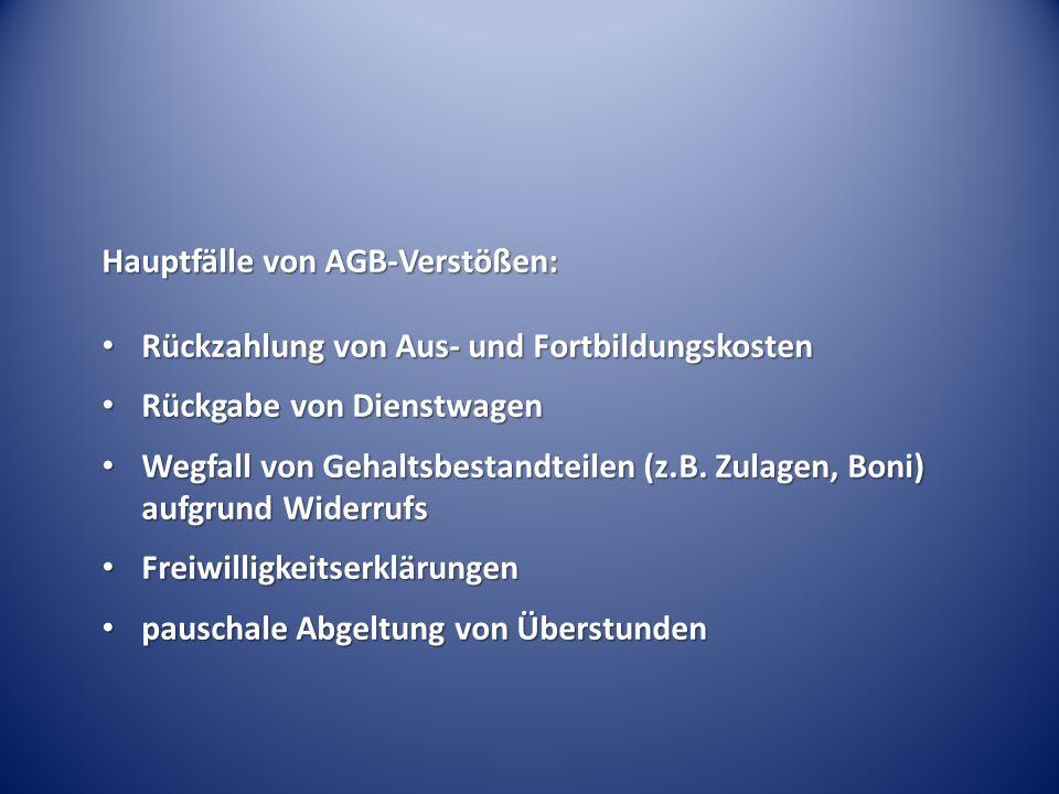 Hauptfälle von AGB-Verstößen: