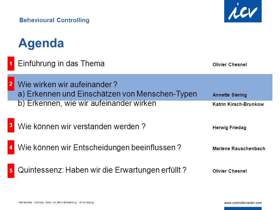 Agenda Einführung in das Thema Olivier Chesnel