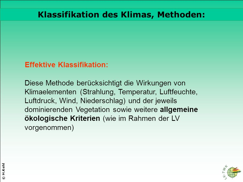 Klassifikation des Klimas, Methoden: