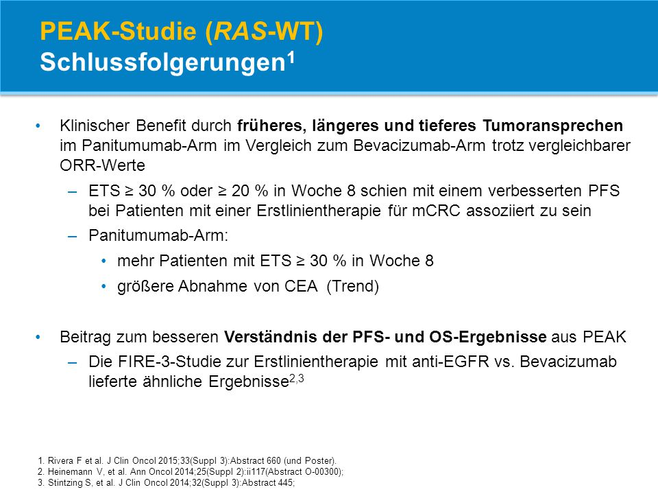 PEAK-Studie (RAS-WT) Schlussfolgerungen1