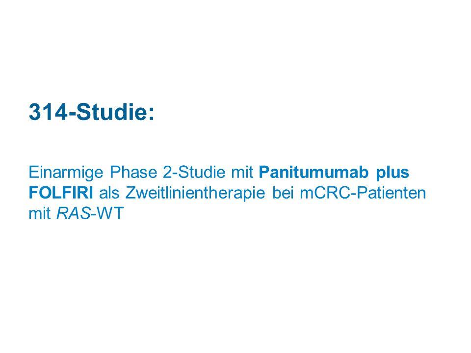 314-Studie: Einarmige Phase 2-Studie mit Panitumumab plus FOLFIRI als Zweitlinientherapie bei mCRC-Patienten mit RAS-WT.