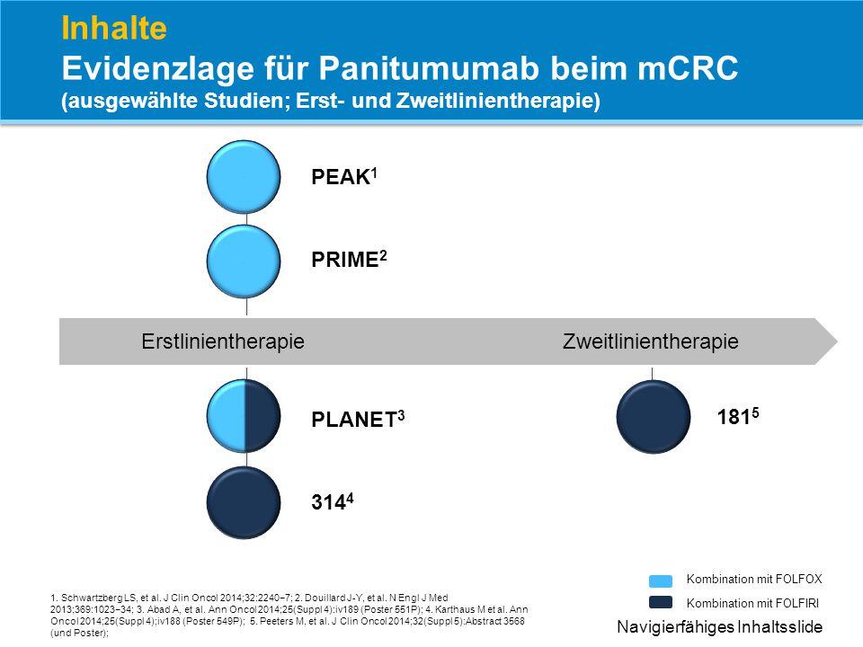 Inhalte Evidenzlage für Panitumumab beim mCRC (ausgewählte Studien; Erst- und Zweitlinientherapie)