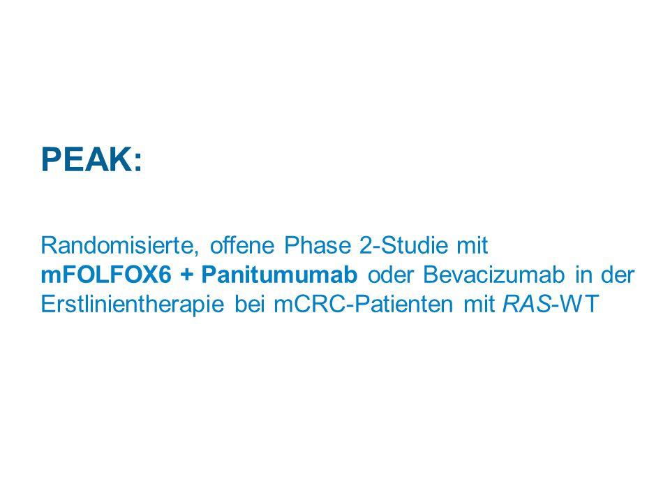 PEAK: Randomisierte, offene Phase 2-Studie mit mFOLFOX6 + Panitumumab oder Bevacizumab in der Erstlinientherapie bei mCRC-Patienten mit RAS-WT.