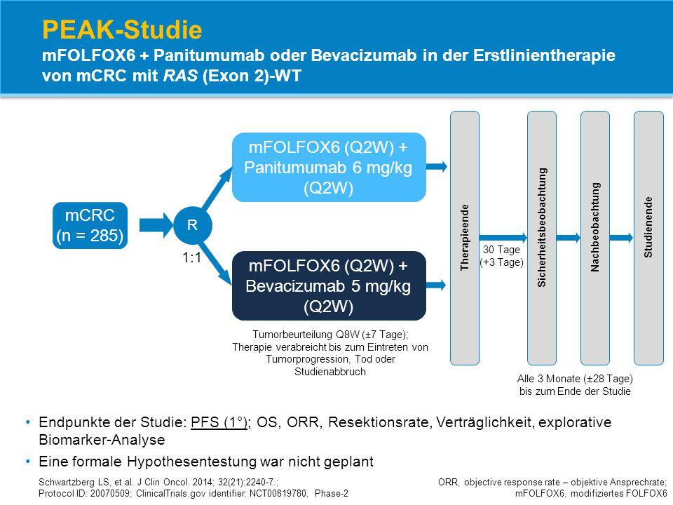 PEAK-Studie mFOLFOX6 + Panitumumab oder Bevacizumab in der Erstlinientherapie von mCRC mit RAS (Exon 2)-WT