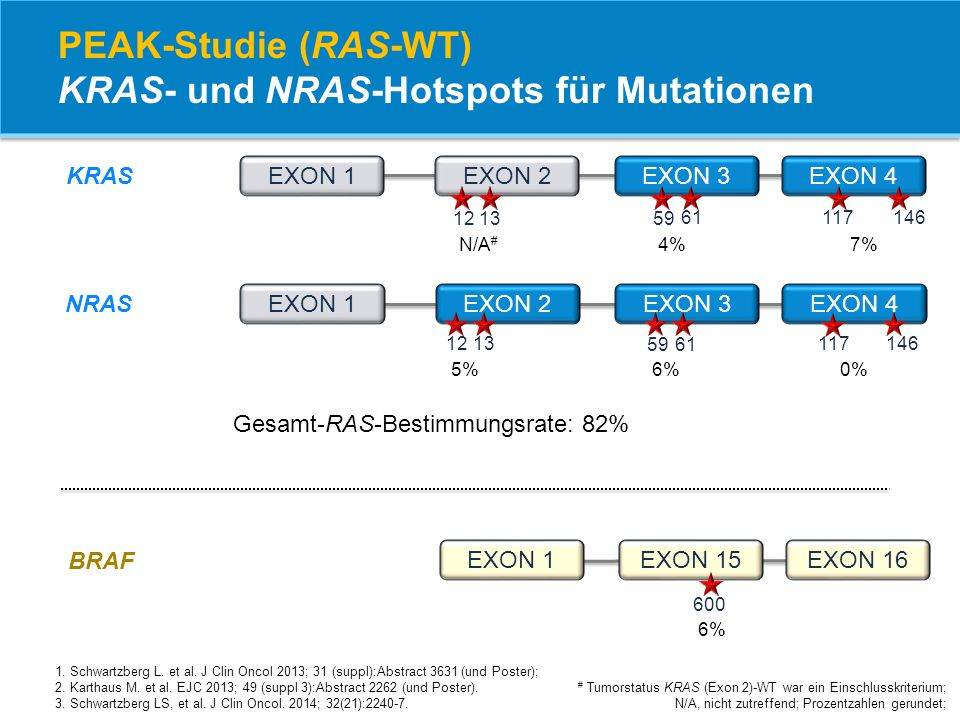 PEAK-Studie (RAS-WT) KRAS- und NRAS-Hotspots für Mutationen