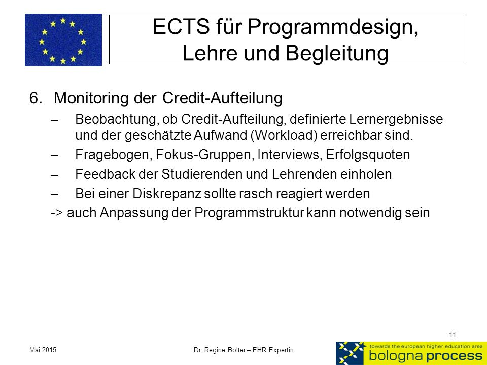 ECTS für Programmdesign, Lehre und Begleitung