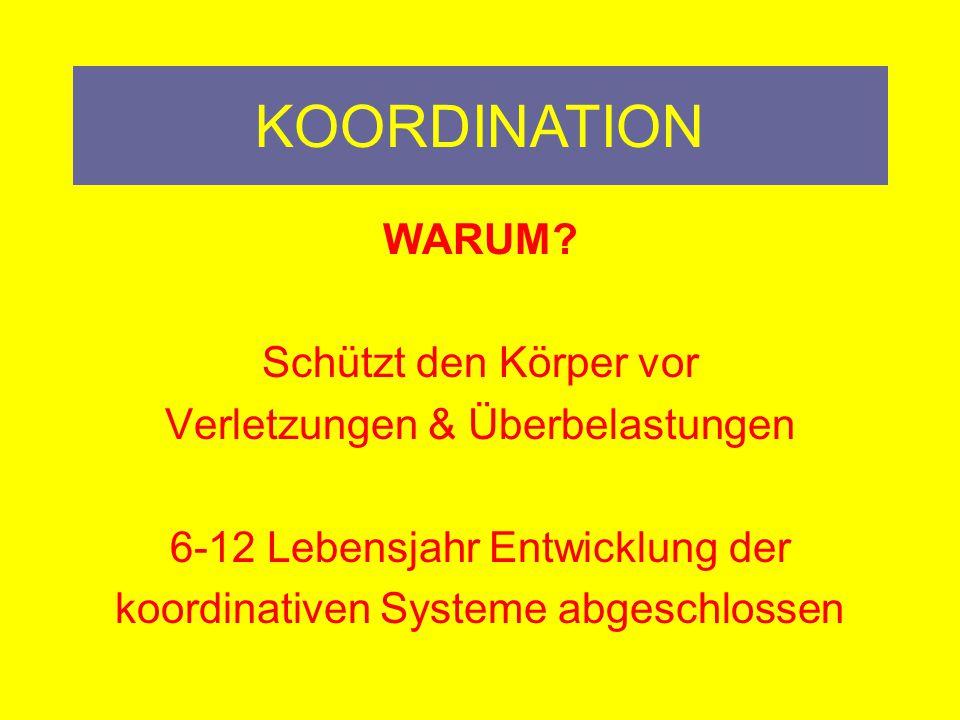 KOORDINATION KOORDINATION WARUM Schützt den Körper vor