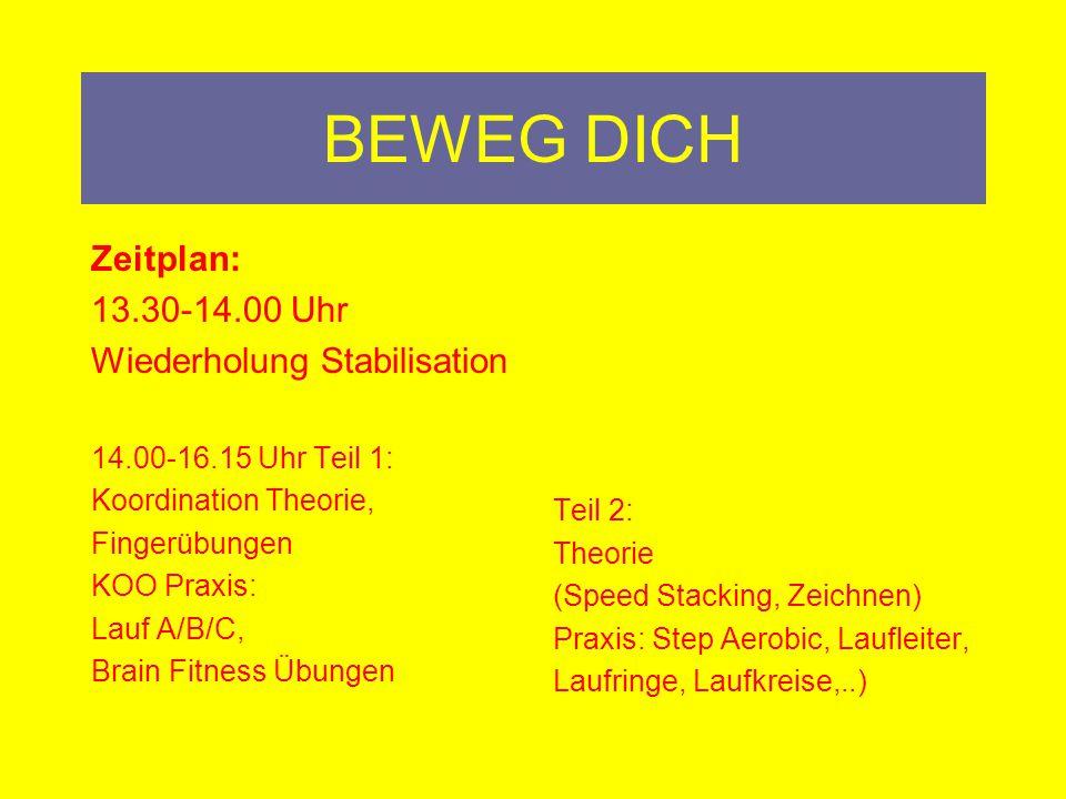 BEWEG DICH Zeitplan: 13.30-14.00 Uhr Wiederholung Stabilisation