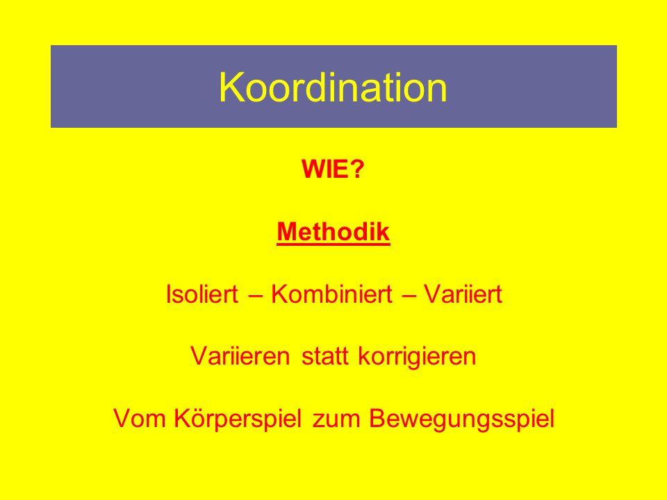 Koordination WIE Methodik Isoliert – Kombiniert – Variiert