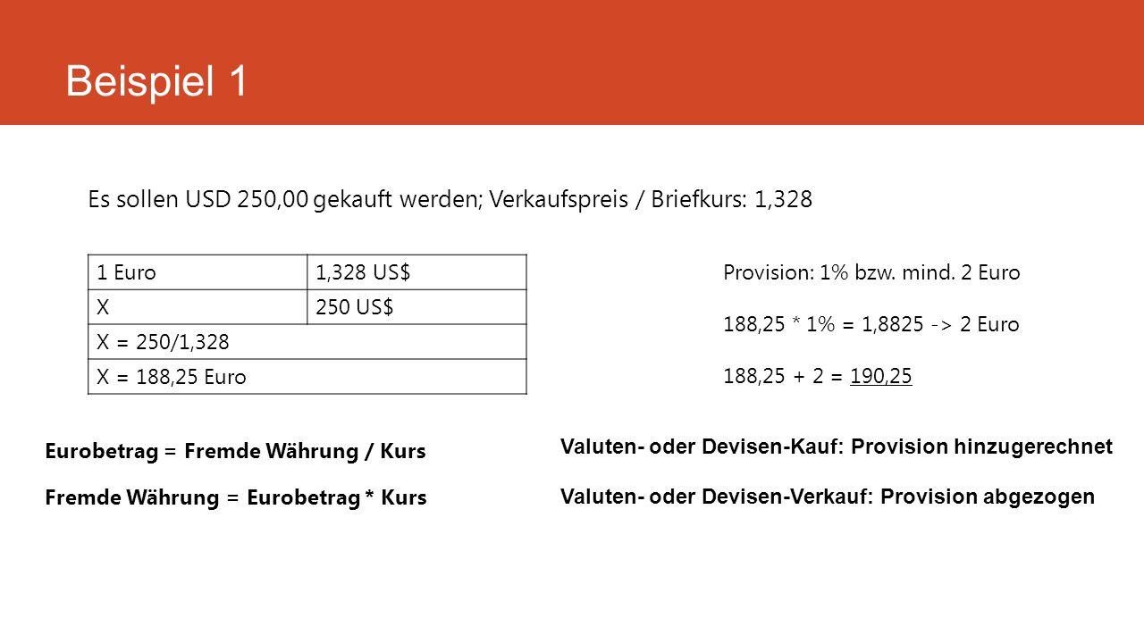 Beispiel 1 Es sollen USD 250,00 gekauft werden; Verkaufspreis / Briefkurs: 1,328. 1 Euro. 1,328 US$