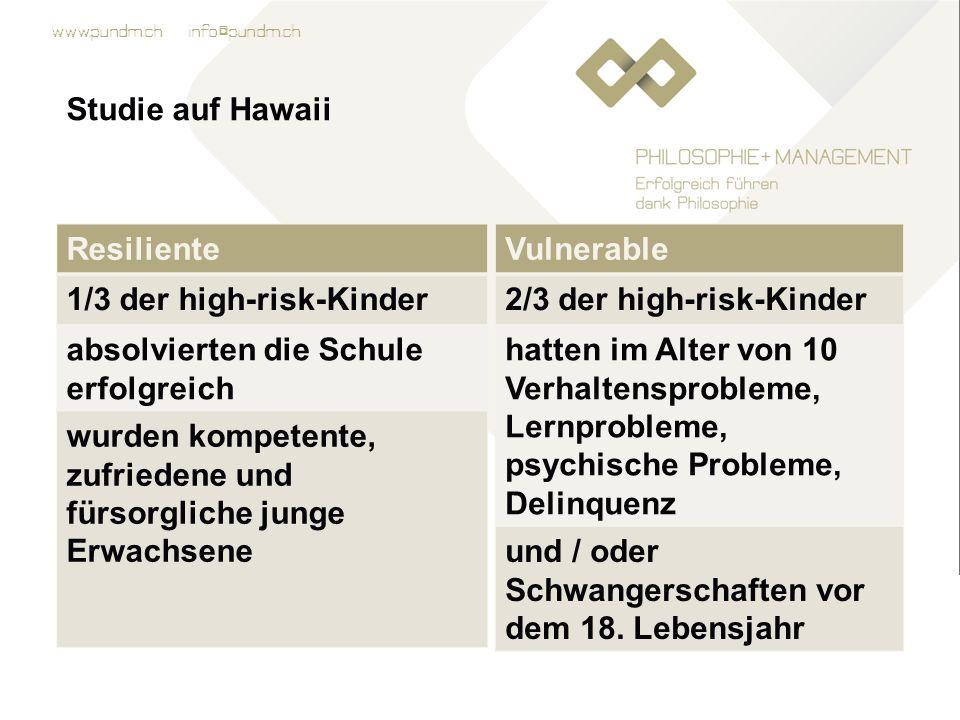 Studie auf Hawaii Resiliente. 1/3 der high-risk-Kinder. absolvierten die Schule erfolgreich.
