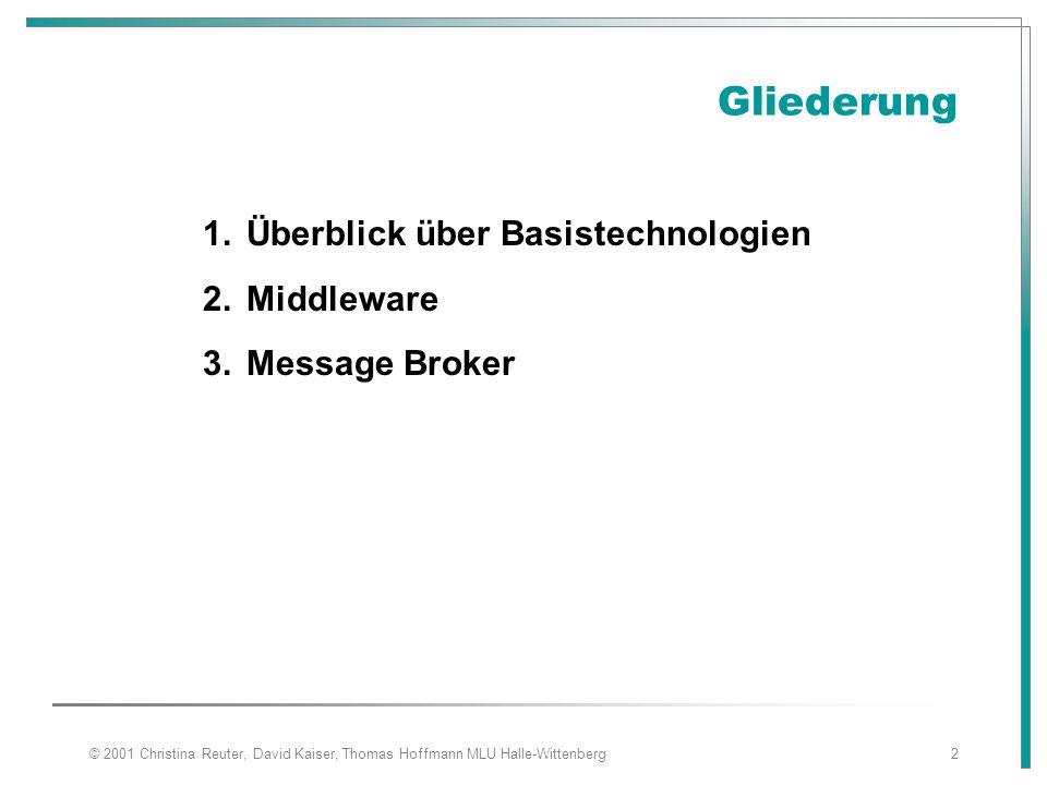 Gliederung Überblick über Basistechnologien Middleware Message Broker