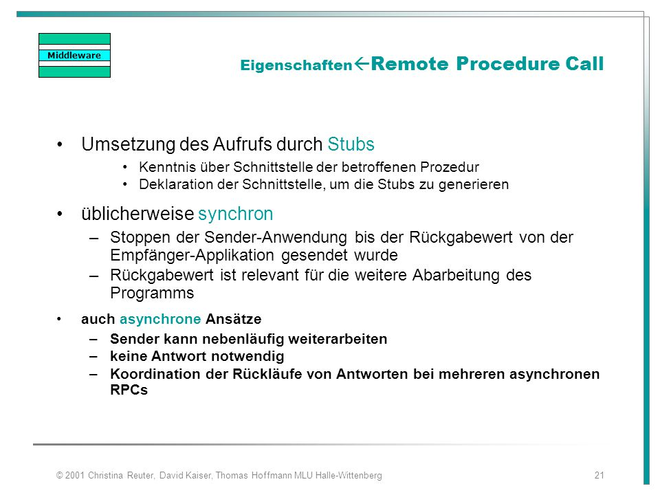 EigenschaftenRemote Procedure Call