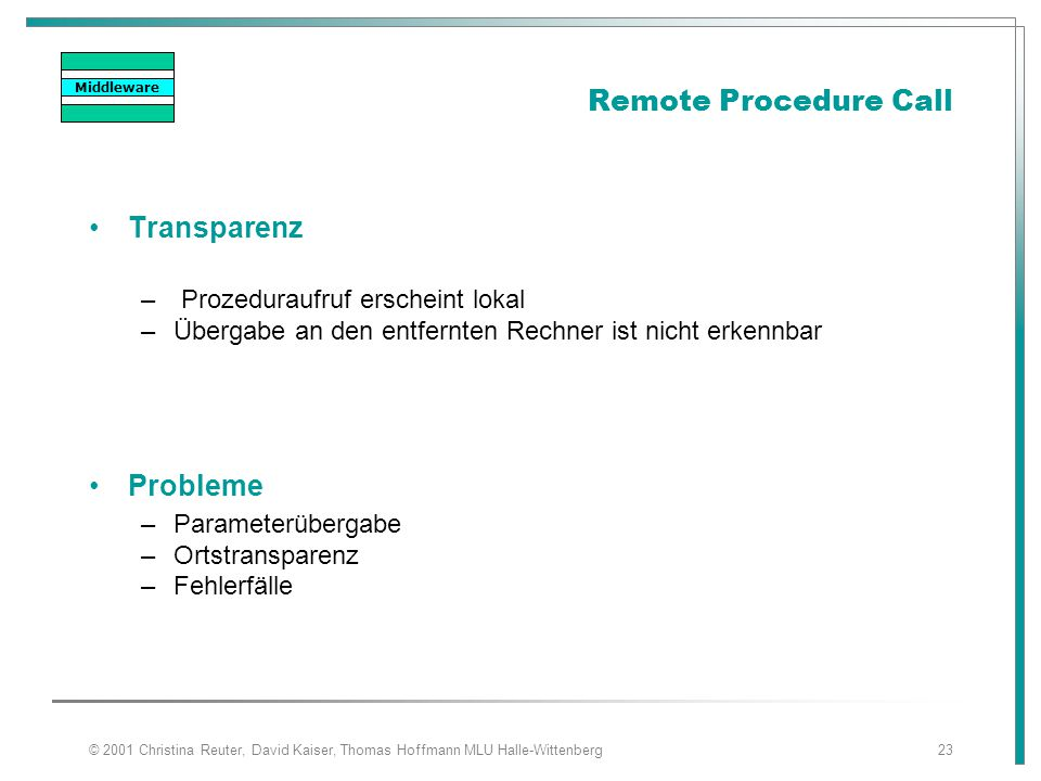 Remote Procedure Call Transparenz Probleme