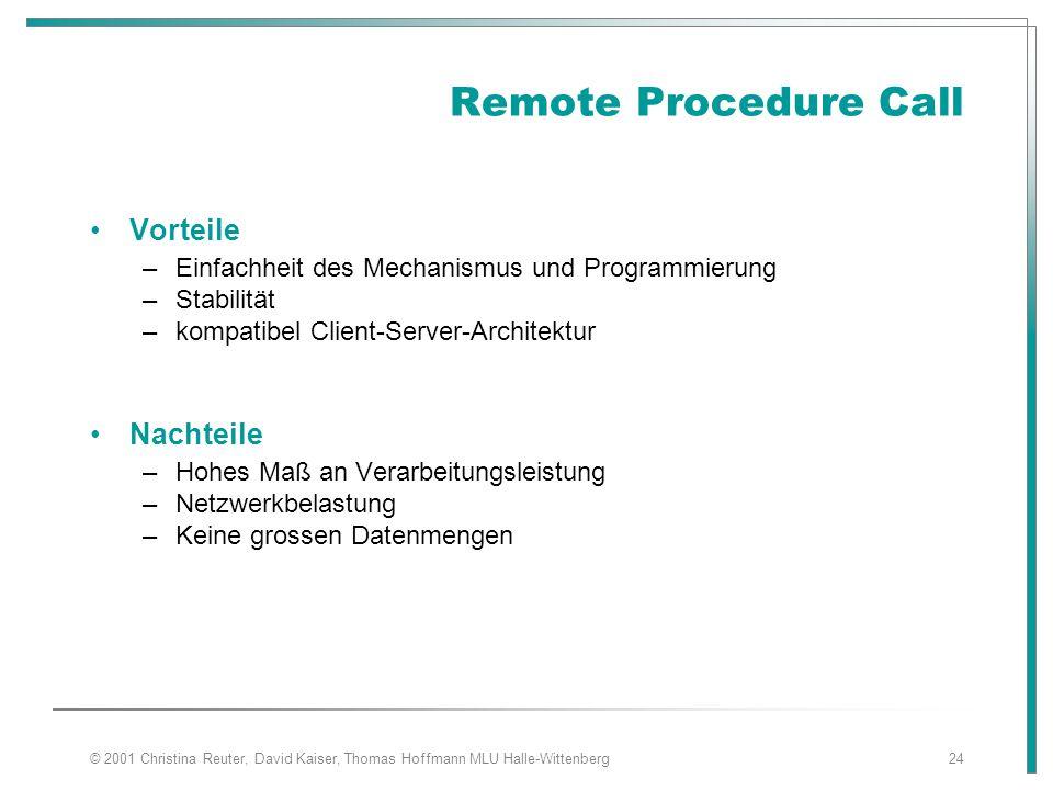 Remote Procedure Call Vorteile Nachteile