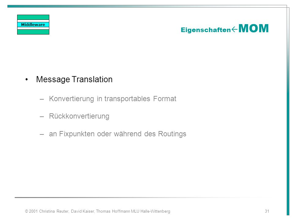 Message Translation Konvertierung in transportables Format