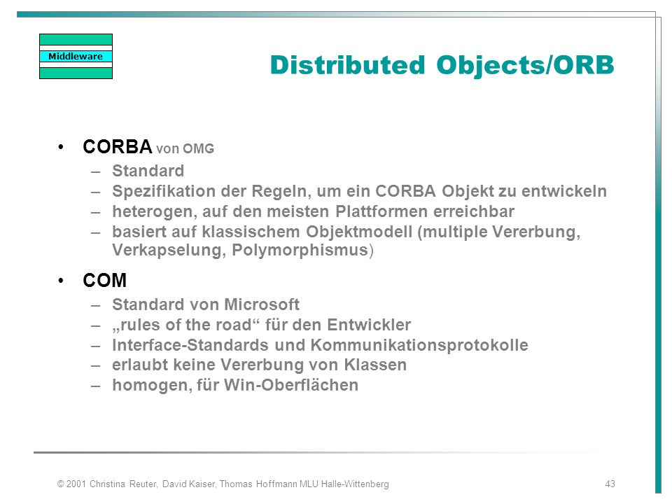 Distributed Objects/ORB