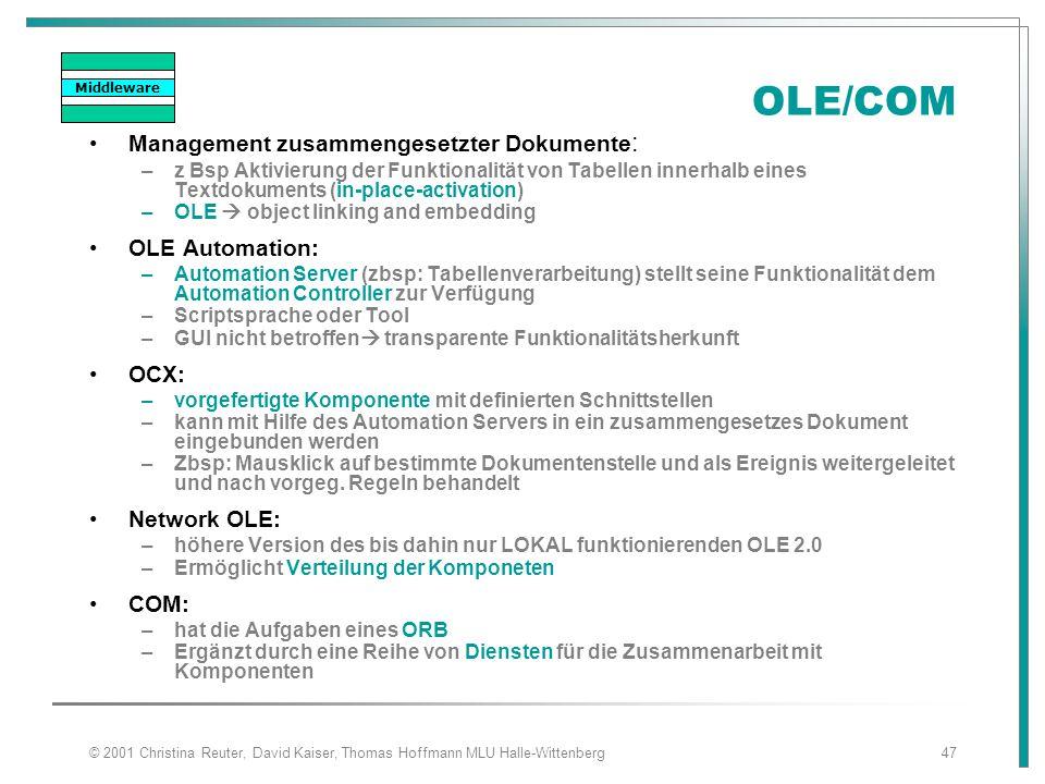 OLE/COM Management zusammengesetzter Dokumente: OLE Automation: OCX: