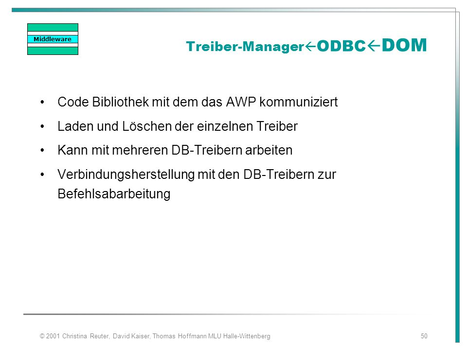Treiber-ManagerODBCDOM