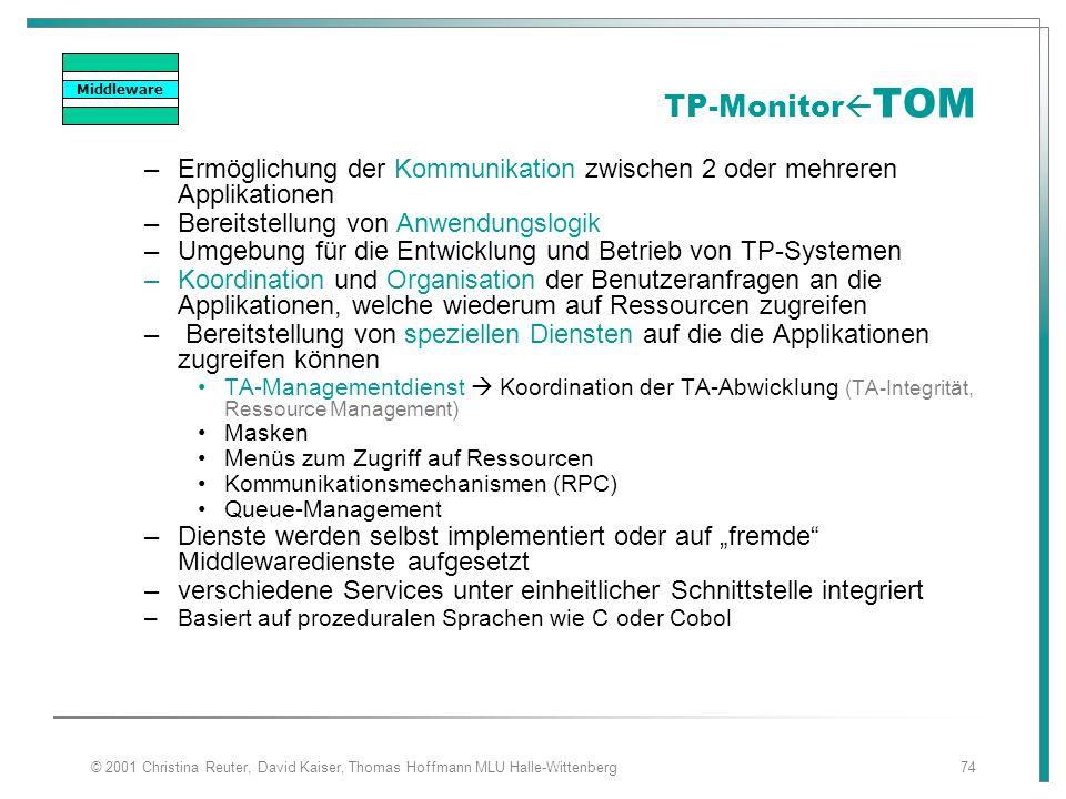 Middleware TP-MonitorTOM. Ermöglichung der Kommunikation zwischen 2 oder mehreren Applikationen. Bereitstellung von Anwendungslogik.